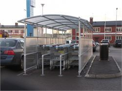 Curved roof trolley bay - Cycle Racks and Trolley Bays