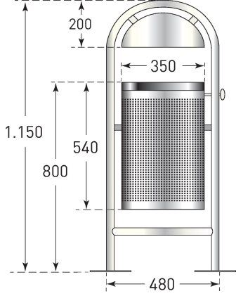 Traffic Line Stainless Steel Litter Bin Dimensions